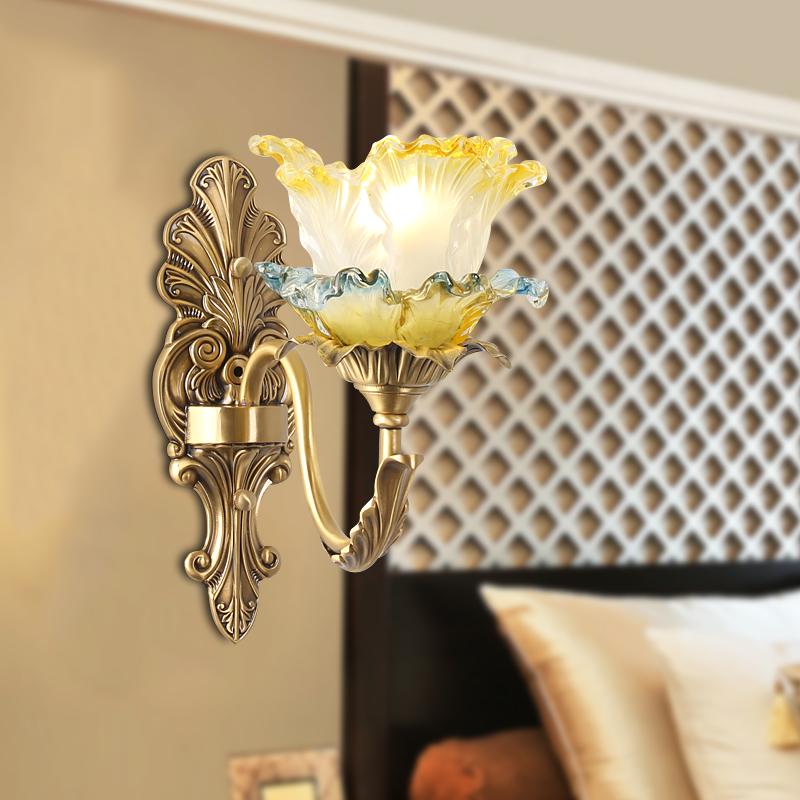 全铜欧式壁灯家用楼梯灯过道灯卧室床头走廊灯简约全铜单双头壁灯