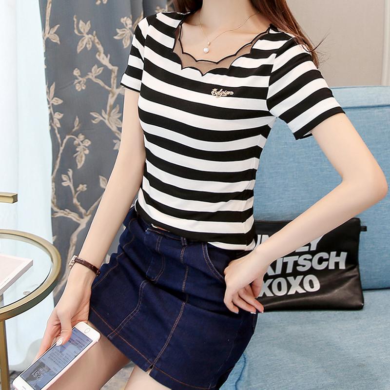 黑白条纹T恤女短袖纯棉2019夏季新款 韩版修身网纱拼接上衣打底衫