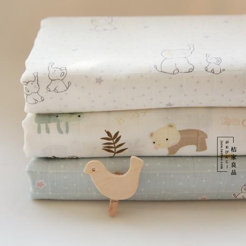 日本订单纯棉双层纱纯棉布料熊婴儿床单被套包被口水巾尿布面料