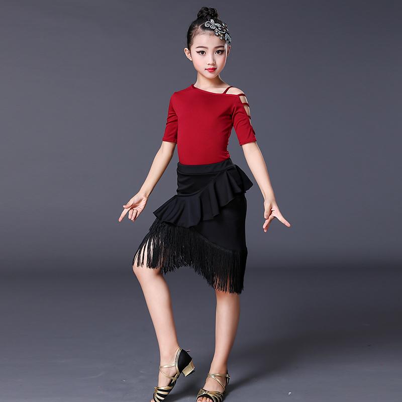 拉丁舞服装儿童新款女孩短袖流苏舞蹈裙少儿专业性感练功演出服夏