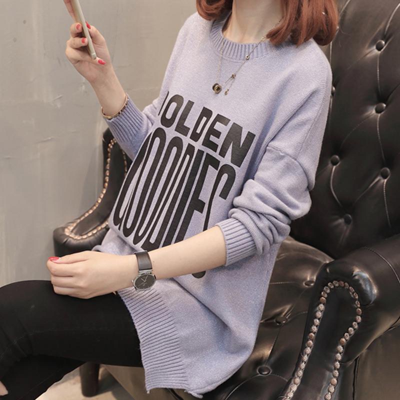 2018春装新款韩版字母毛衣女休闲短款圆领套头宽松打底针织衫外套