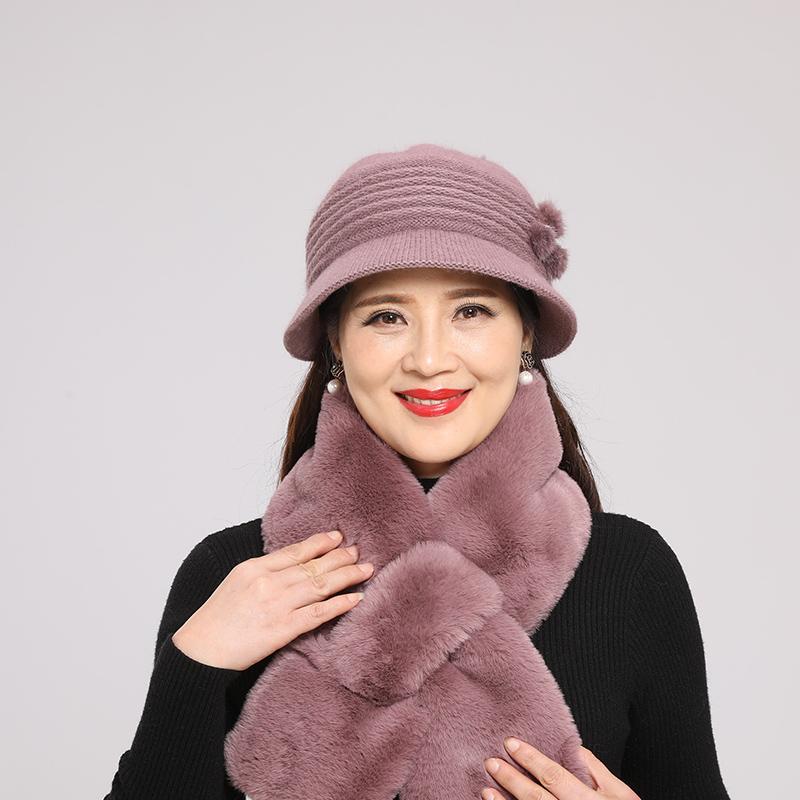 中老年人毛线帽子女冬天妈妈保暖帽秋冬季老奶奶妈妈老人圆脸围巾主图
