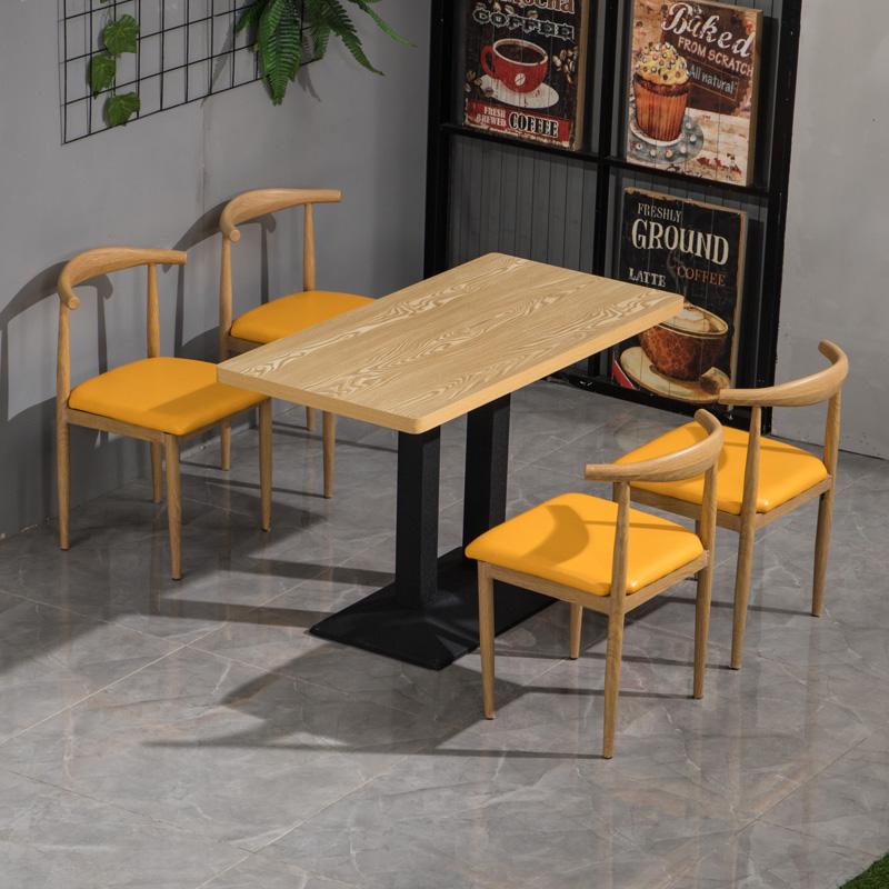 店奶茶店长方形餐桌椅