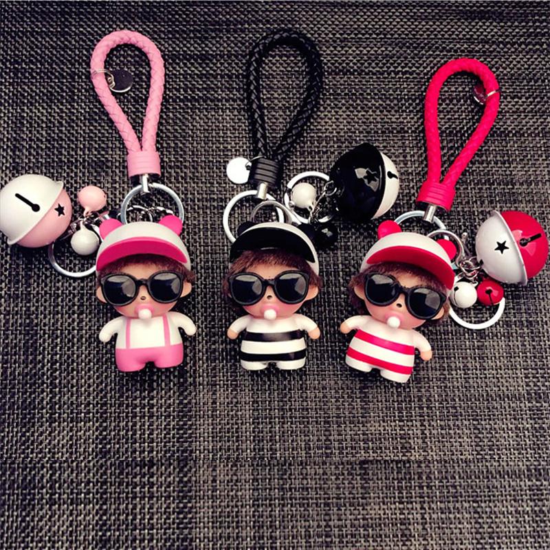 韩国卡通钥匙扣简约可爱男士女款浪漫情侣创意汽车钥匙挂件圈环链