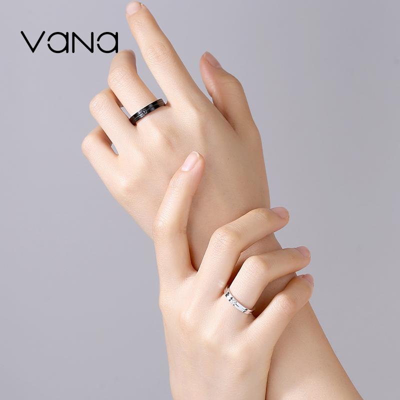 潮对戒镶施华洛世奇锆 纯银情侣黑色戒指一对男女时尚个姓  vana ins
