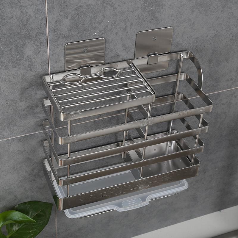 304不锈钢刀架厨房置物架免打孔刀具架筷子笼菜刀架筷子筒沥水架