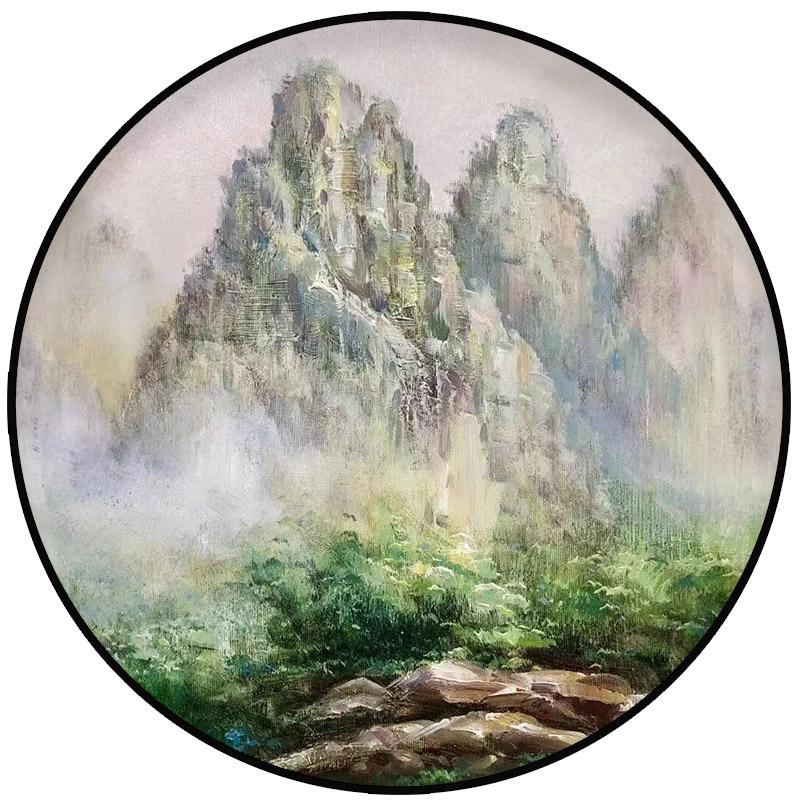 纯手绘油画定制新中式客厅装饰画玄关书房挂画圆形壁画山水风景画
