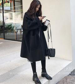 大衣女中长款韩版2020秋冬季新款小个子毛呢外套宽松茧型呢子大衣