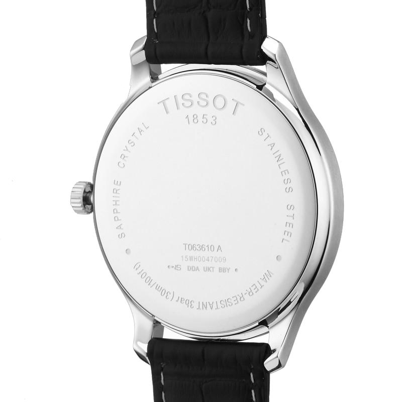 天梭官方正品俊雅时尚都市休闲日历显示石英皮带手表男表 Tissot