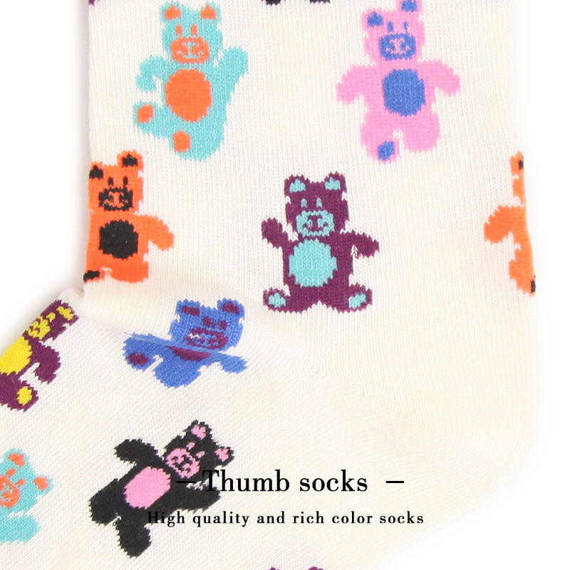 happy小熊新款潮牌袜子男女泰迪熊可爱学院风潮流中筒棉袜子Socks No.2