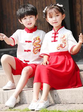 幼儿园园服春秋装汉服纯棉小学生校服民族风儿童班服套装中国风红