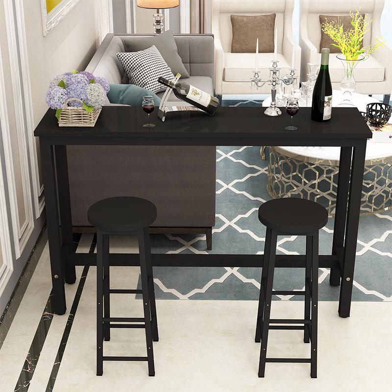 吧台桌家用简约靠墙小吧台咖啡奶茶店餐厅酒吧铁艺桌椅高脚长条桌