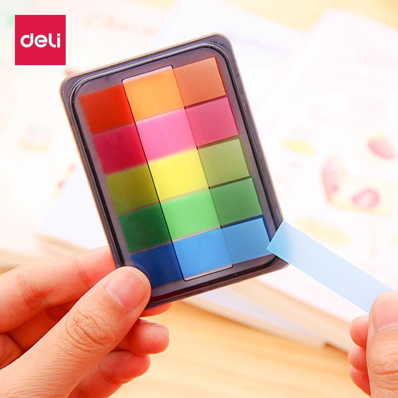 得力荧光膜指示标签贴抽取式分类贴透明彩条便利贴小条索引便签贴