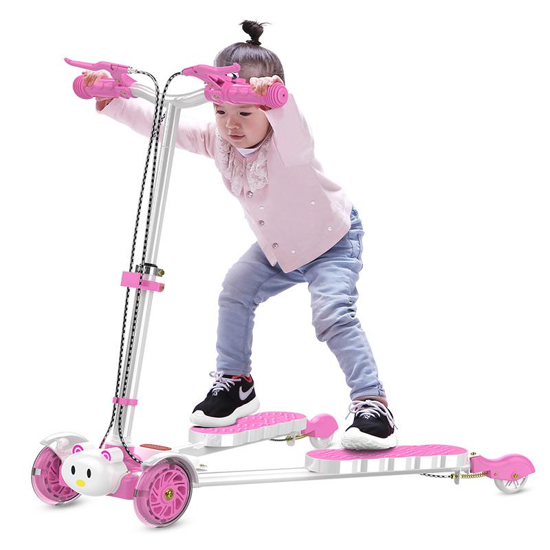 儿童滑板车3-6岁8双脚分开踏板蛙式剪刀车四轮5男女孩2宝宝滑滑车