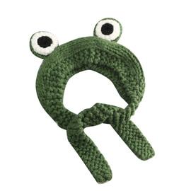 秋冬季可爱卡通青蛙护耳帽子针织毛线帽儿童保暖耳罩头套女网红款