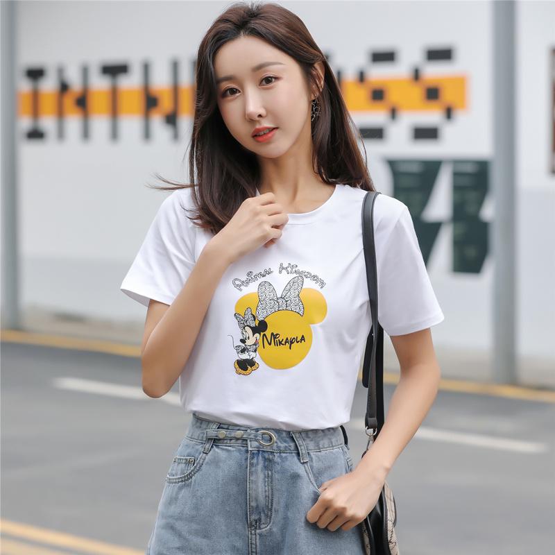 黑白色大码纯棉短袖体t恤女夏2020年新款宽松韩版显瘦雏菊上衣服