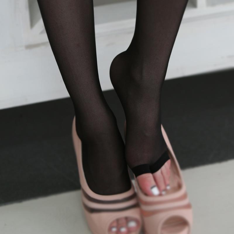 丹吉娅露脚趾丝袜鱼嘴袜防勾丝隐形连裤袜超薄款女夏天凉鞋黑肉色
