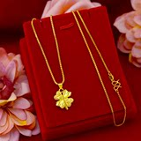 Gold necklace female 999 solid gold 18k ladies new fashion clavicle chain 3D hard gold lucky clover pendant