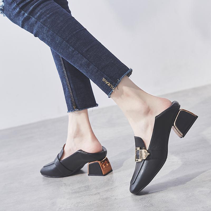 粗跟单鞋女2021新款春秋季百搭女鞋高跟鞋英伦风小皮鞋中跟乐福鞋 No.3