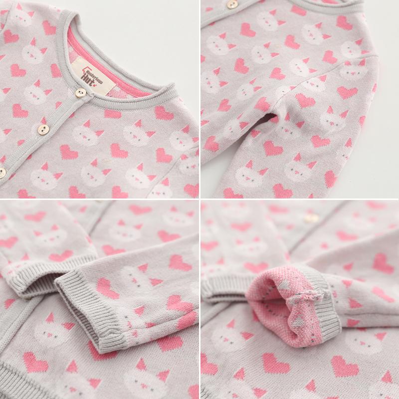 Sun 童品  女童上衣开衫 2018新款春装儿童宝宝针织毛衣动物外套