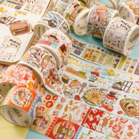 胖星球特油和纸胶带整卷 可爱人物肉球风少女日常DIY手帐素材贴纸