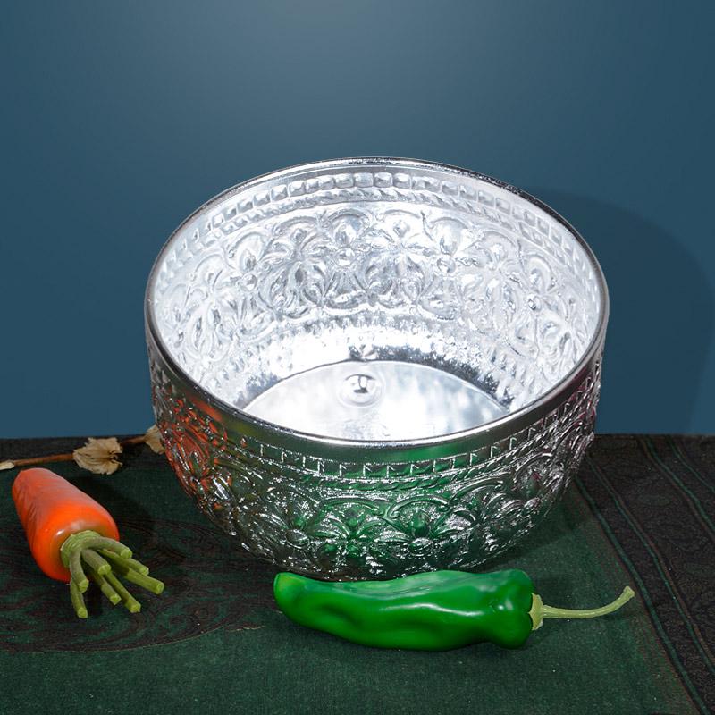 异丽创意东南亚桌面装饰锡碗无盖床上收纳桶客厅迷你欧式垃圾筒