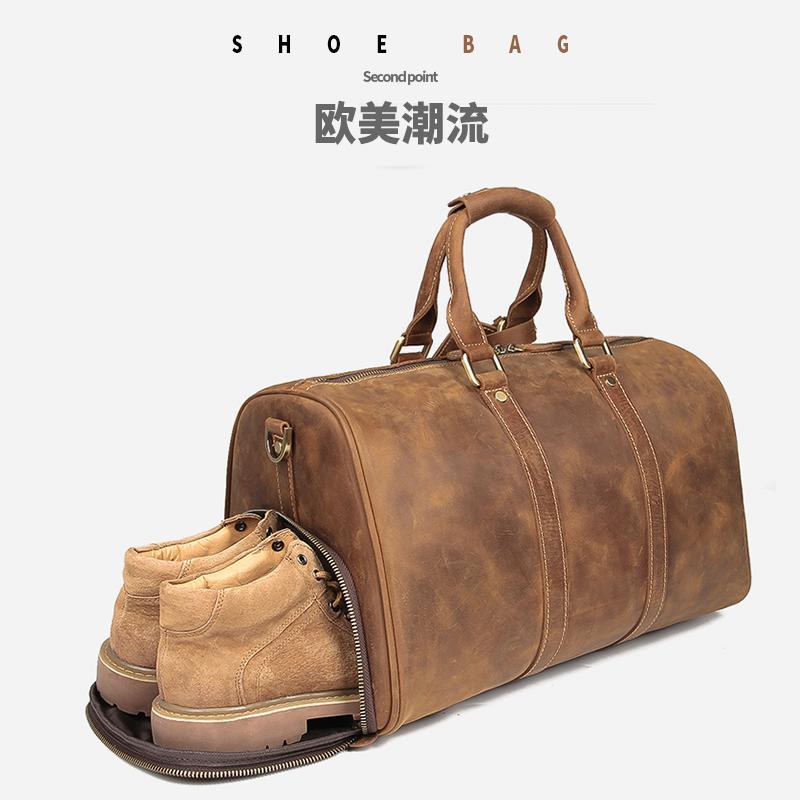 旅行包手提包男士头层牛皮大容量真皮包欧美疯马皮单肩斜跨行李袋
