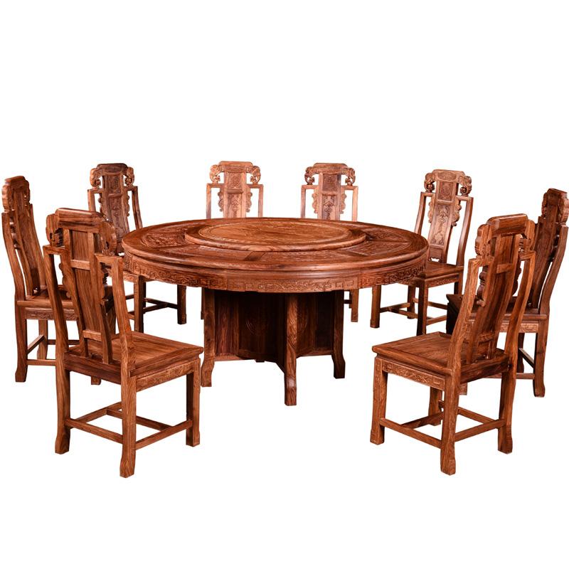 红木餐桌花梨木刺猬紫檀圆桌雕花红木圆桌圆台客厅实木餐桌椅组合