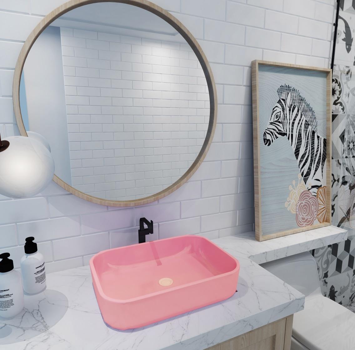 彩色哑光粉色洗手盆台上盆陶瓷洗脸盆家用卫生间小号洗手盆圆盆方