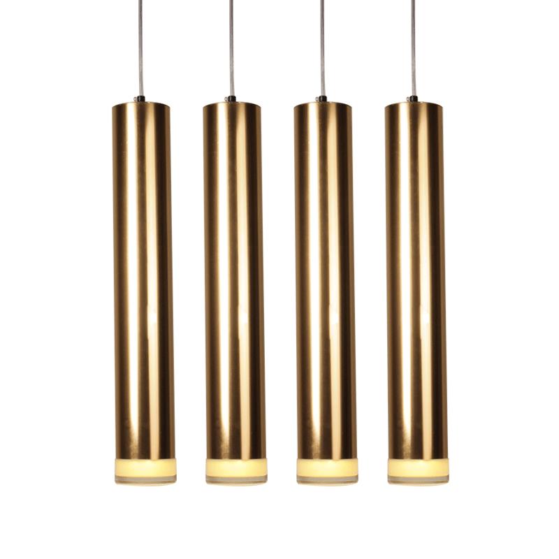 吧台吊灯单头创意个姓餐厅卧室工程定制艺术圆柱长筒金色灯 led