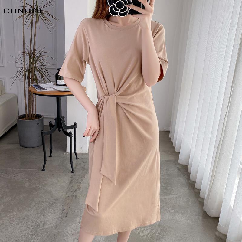 新款夏装宽松收腰绑带长款过膝体恤裙女装纯色休闲中年短袖连衣裙