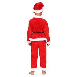 qcos圣诞节儿童男孩女孩圣诞衣服金丝绒圣诞老人表演服演出服装