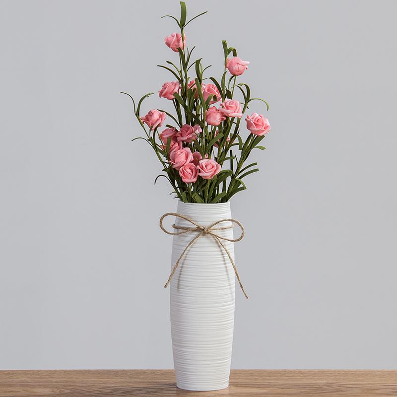 满天星花瓶摆件宜家客厅白色小清新干花插花创意陶瓷花器简约现代