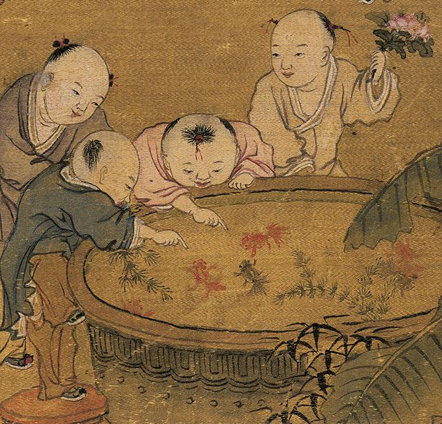 清 冷枚 百子圖古代人物工筆名畫真跡高清復制品橫幅卷軸裝飾掛畫