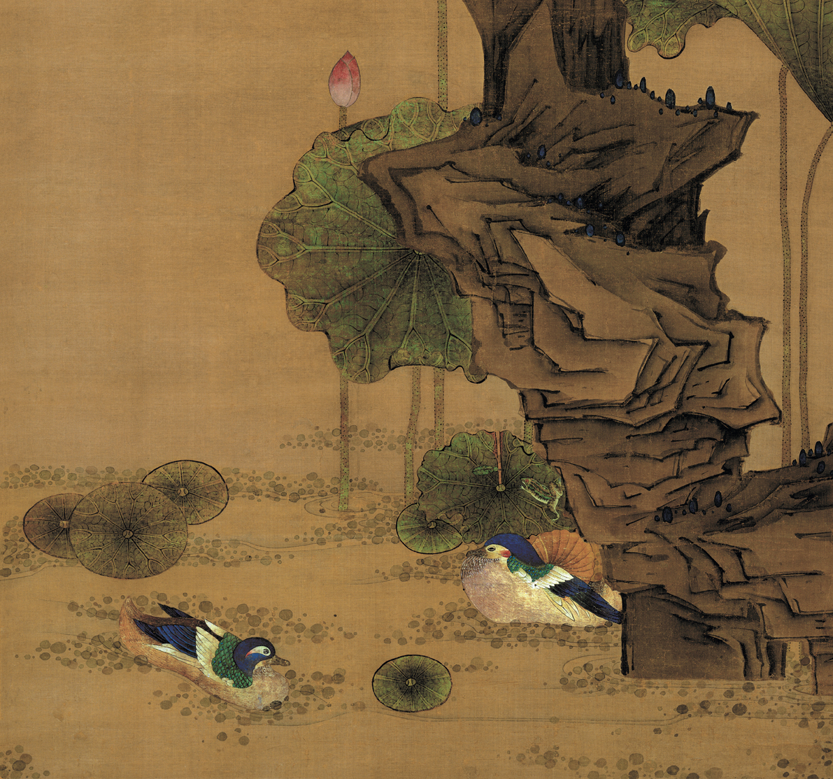 明陈洪绶荷花鸳鸯图真迹复制艺术微喷古画卷轴画花鸟装饰画芯临摹