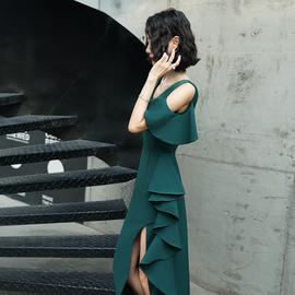 气质晚礼服女2020新款气场女王优雅高贵宴会主持人连衣裙高端大气