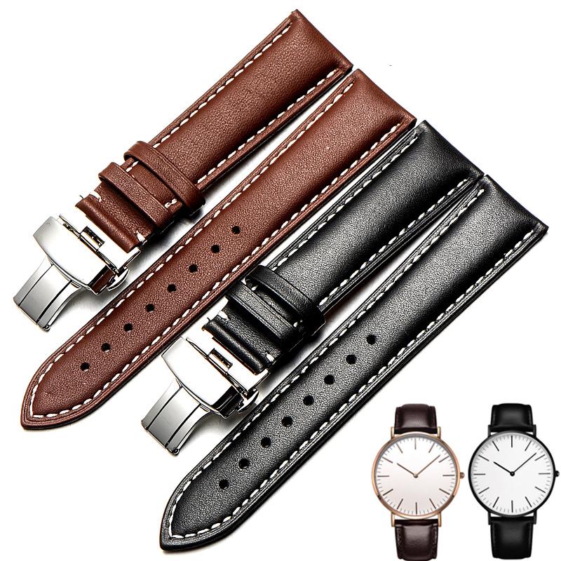 真皮表带男士 针纹头层小牛皮适用天王阿玛尼DW手表链女 18/20mm