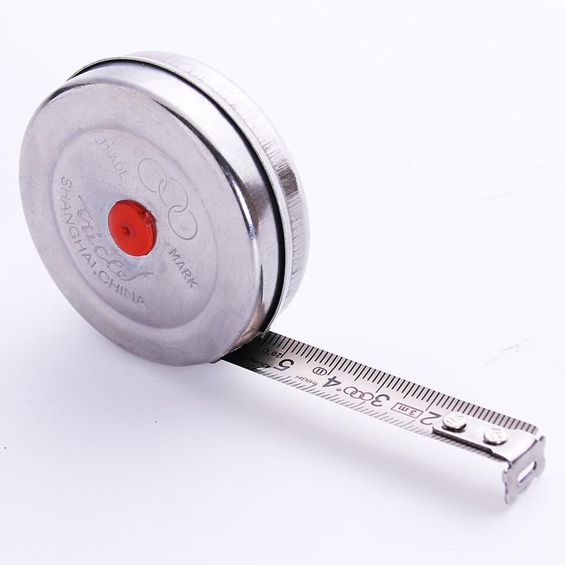 三圈不锈钢外壳钢卷尺迷你小卷尺子1米2米3米5米公制高精度测量