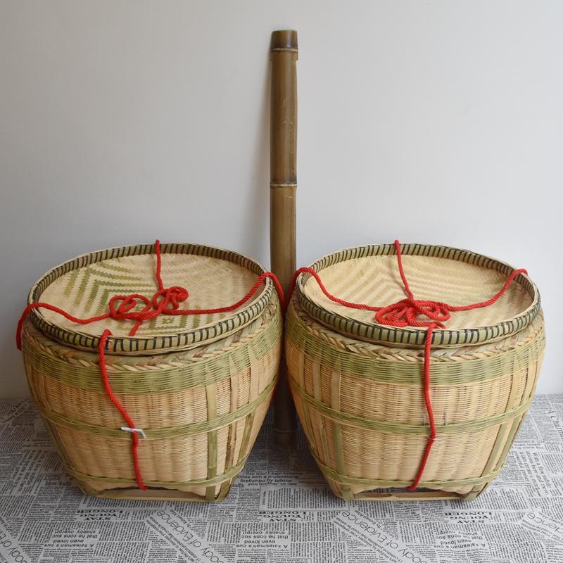 手工竹编筐家用大篓子喜事竹筐淘米收纳筐竹篮装谷竹箩筐簸箕包邮