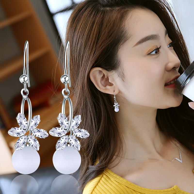 猫眼石耳饰品女耳环长款日韩国气质个性百搭潮人优雅可爱网红耳坠