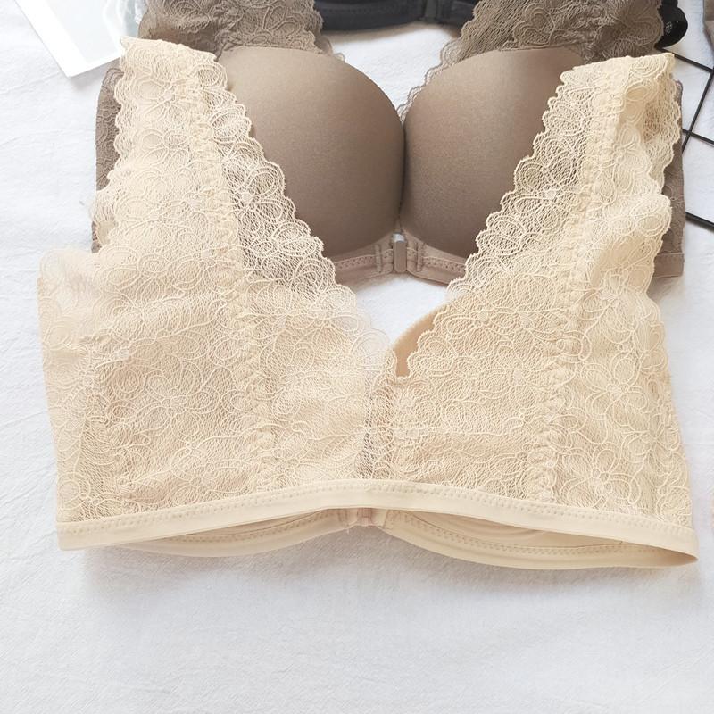 日本蕾丝美背文胸前扣无钢圈背心式胸罩小胸聚拢性感女士舒适内衣