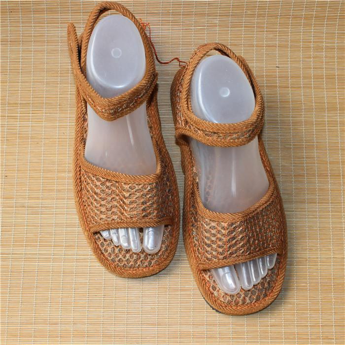 山棕絲涼鞋網面吸汗透氣涼鞋山棕櫚絲網面橡膠底涼鞋