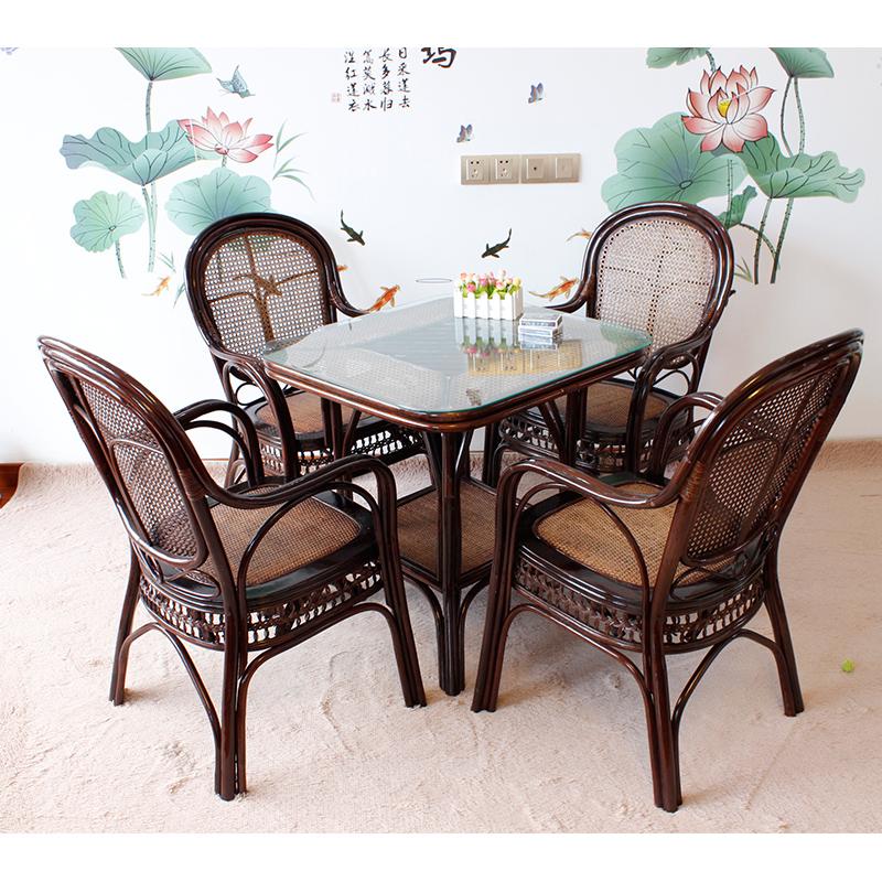 真藤椅子天然植物藤编茶楼阳台靠背椅三件套五件套组合扶手椅藤椅