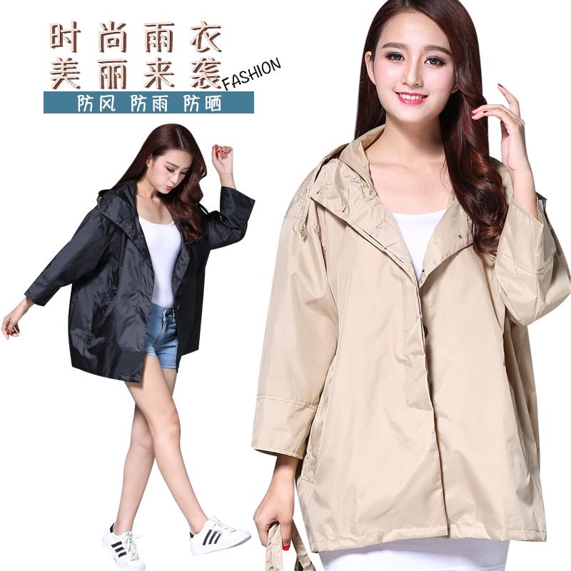 日式时尚风衣式短款防水防风透气宽松可爱韩版男女士简单雨衣外套