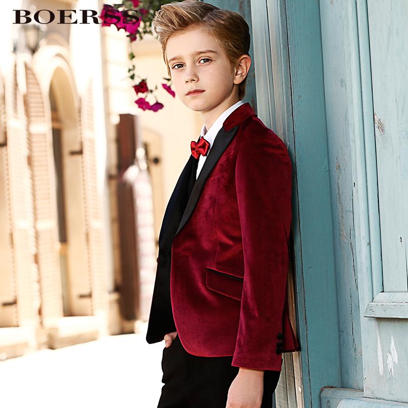 BOERSS儿童男童礼服丝绒套装婚礼中大童西服花童英伦小西装外套