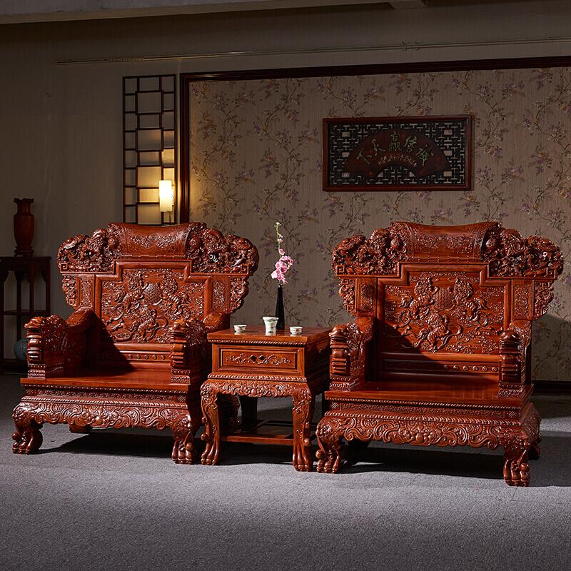 红木家具红木沙发刺猬紫檀中式实木沙发麒麟王客厅组合新中式