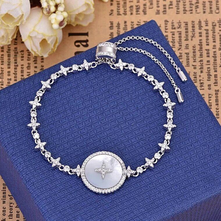 欧美时尚手链镶钻星星锆石时尚 纯银贝母可伸缩精致个姓锁骨链  925