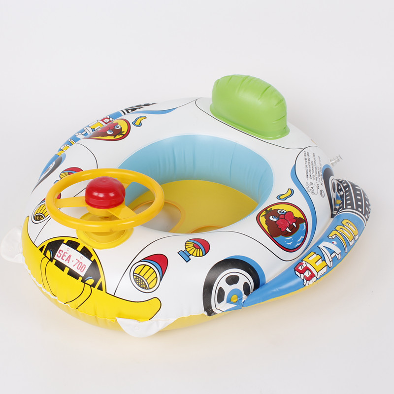 充氣兒童游泳圈 遊艇 方向盤喇叭快艇 水上玩具坐圈浮圈批發包郵