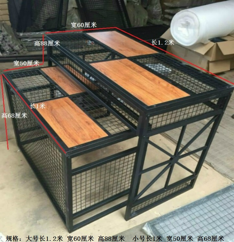 流水台展示台服装店鞋子包包高低桌创意中岛台组合铁艺梯形展台