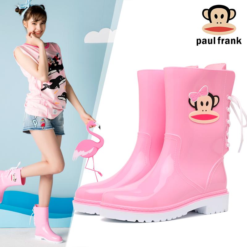 大嘴猴时尚雨靴女中筒水靴后系带防滑水鞋胶鞋套鞋成人休闲雨鞋女